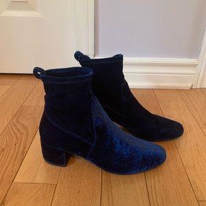 blue suede booties from aldo!